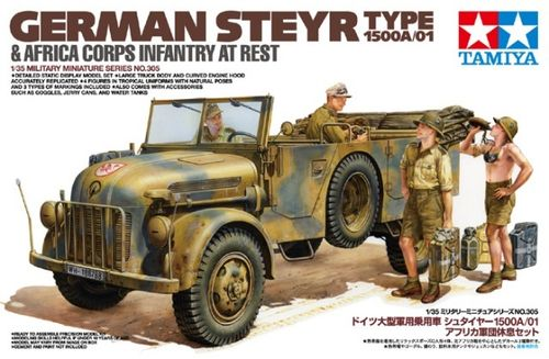 TAMIYA 35305 1/35 German Steyr Type 1500A/01 & Africa Coprs Infantry at rest