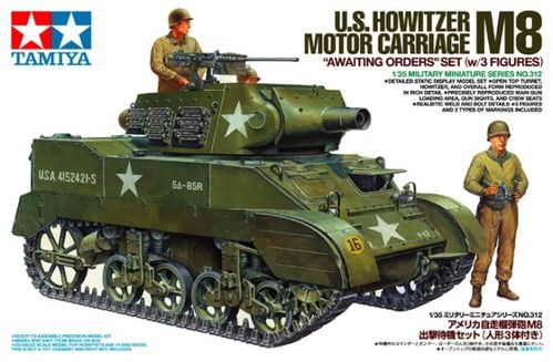 "TAMIYA 35312 1/35 U.S. Howitzer Motor Carriage M8 ""Awaiting Orders"" (Set w/3 figures)"