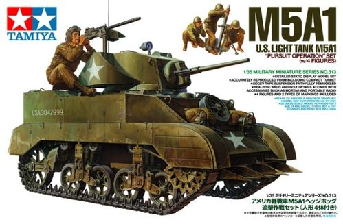 "TAMIYA 35313 1/35 US Light Tank M5A1 ""Pursuit Operation"" set (w/4 figures)"